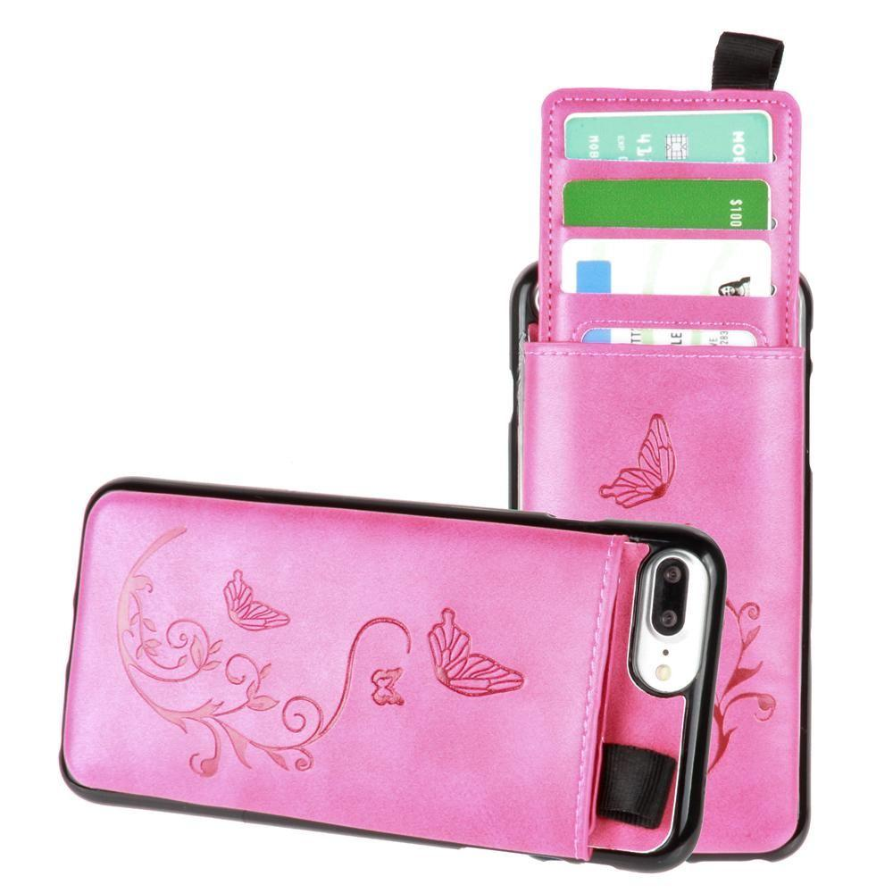 - Embossed Butterfly Leather Case with Pull-Out Card Slot Organizer, Hot Pink for Apple iPhone 6 Plus/iPhone 6s Plus/iPhone 7 Plus/iPhone 8 Plus