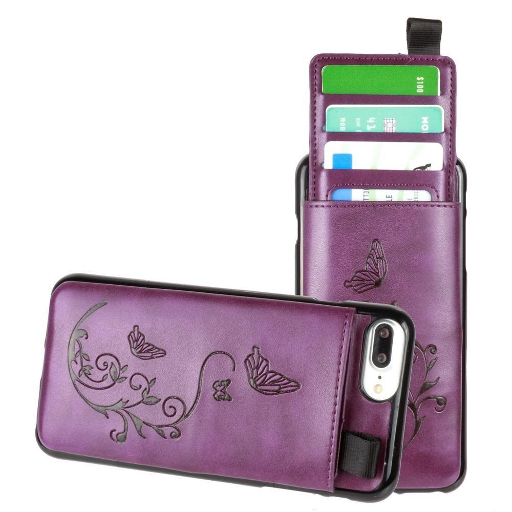 Iphone 6 Plus - Embossed Butterfly Leather Case with Pull-Out Card Slot Organizer, Purple for Apple iPhone 6 Plus/iPhone 6s Plus/iPhone 7 Plus/iPhone 8 Plus