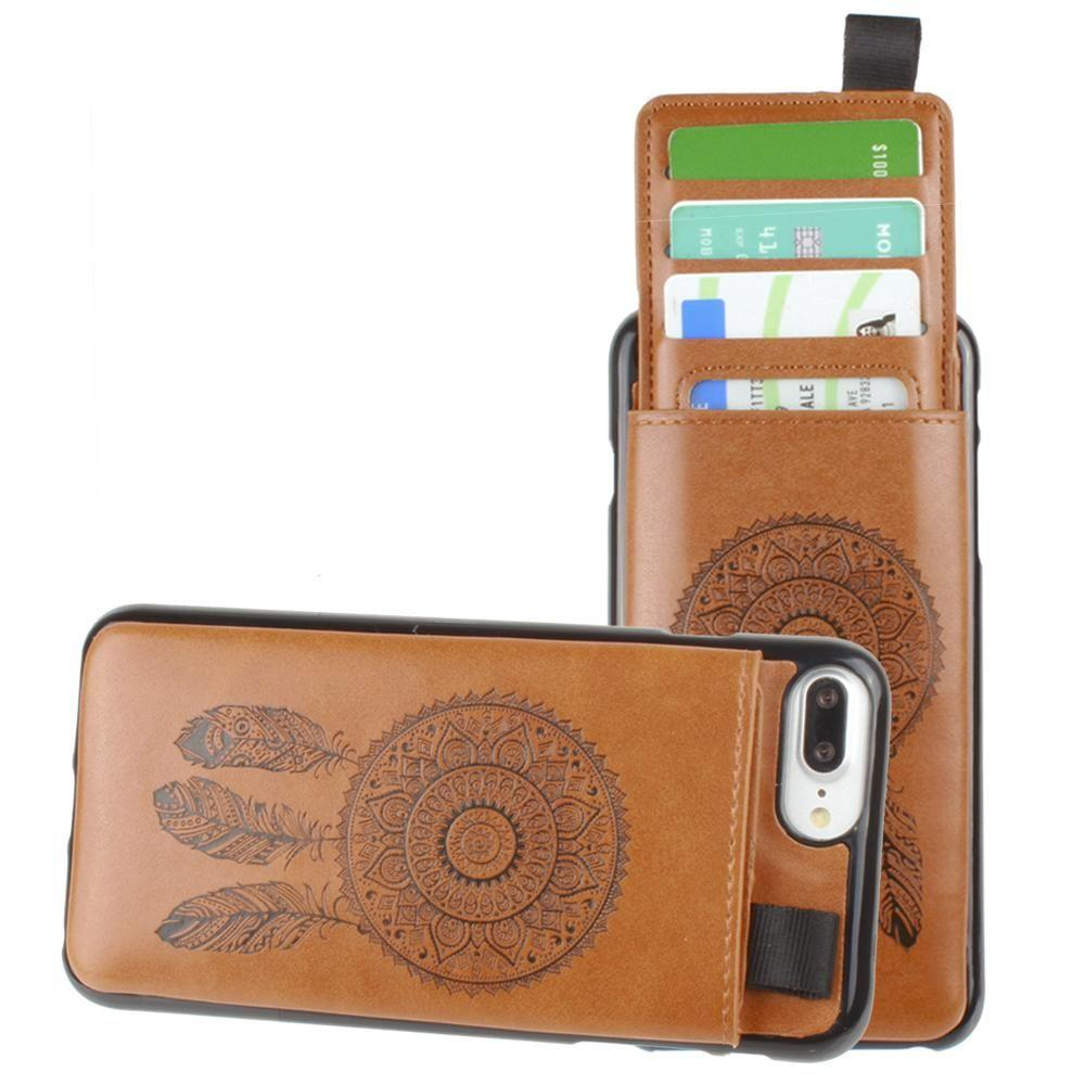 - Embossed Dreamcatcher Leather Case with Pull-Out Card Slot Organizer, Taupe for Apple iPhone 6 Plus/iPhone 6s Plus/iPhone 7 Plus/iPhone 8 Plus