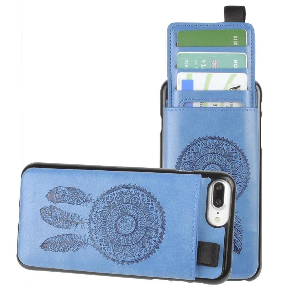 - Embossed Dreamcatcher Leather Case with Pull-Out Card Slot Organizer, Blue for Apple iPhone 6 Plus/iPhone 6s Plus/iPhone 7 Plus/iPhone 8 Plus