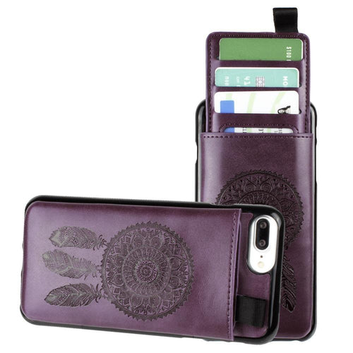 Apple Iphone 6 Plus - Embossed Dreamcatcher Leather Case with Pull-Out Card Slot Organizer, Purple for Apple iPhone 6 Plus/iPhone 6s Plus/iPhone 7 Plus/iPhone 8 Plus