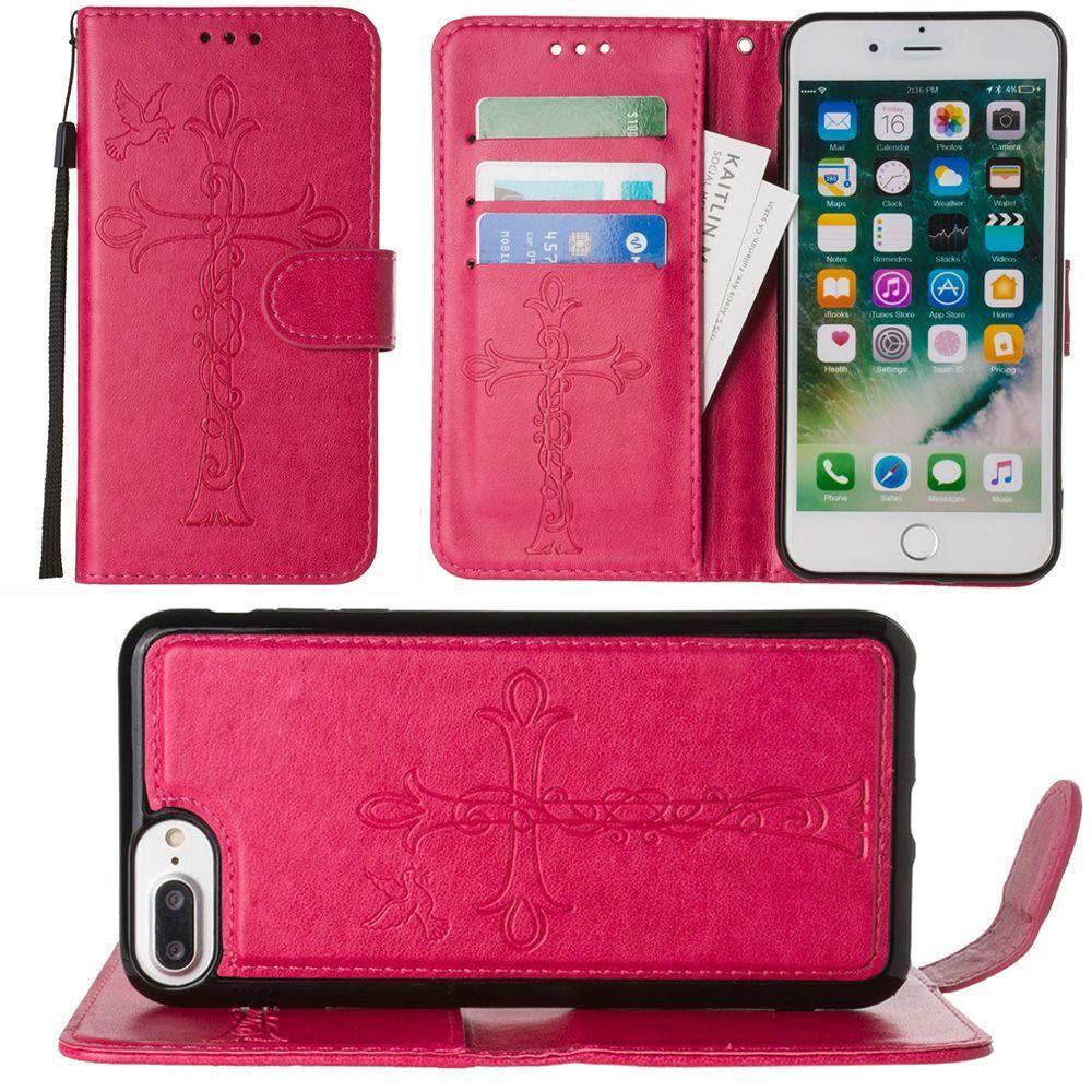 - Embossed Cross and Dove Wallet with Detachable Matching Slim Case and Wristlet, Hot Pink for Apple iPhone 6 Plus/iPhone 6s Plus/iPhone 7 Plus/iPhone 8 Plus