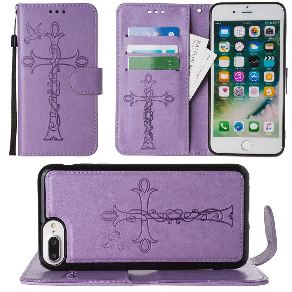 - Embossed Cross and Dove Wallet with Detachable Matching Slim Case and Wristlet, Lavender for Apple iPhone 6 Plus/iPhone 6s Plus/iPhone 7 Plus/iPhone 8 Plus