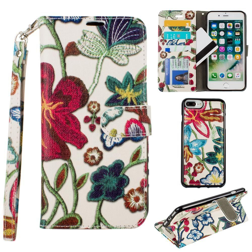 Iphone 6 Plus - Faux Embroidery Printed Floral Wallet Case with detachable matching slim case and wristlet, Multi-Color for Apple iPhone 6 Plus/iPhone 6s Plus/iPhone 7 Plus/iPhone 8 Plus