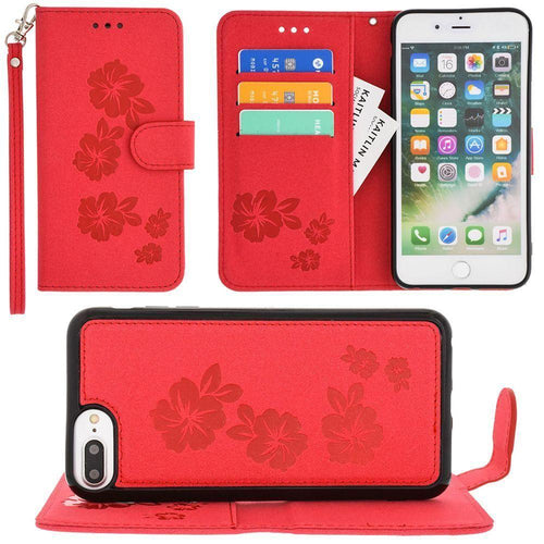 Apple Iphone 6s Plus - Embossed Glitter Hawaiian Flower Wallet with Detachable Matching Slim Case and Wristlet, Rose Red