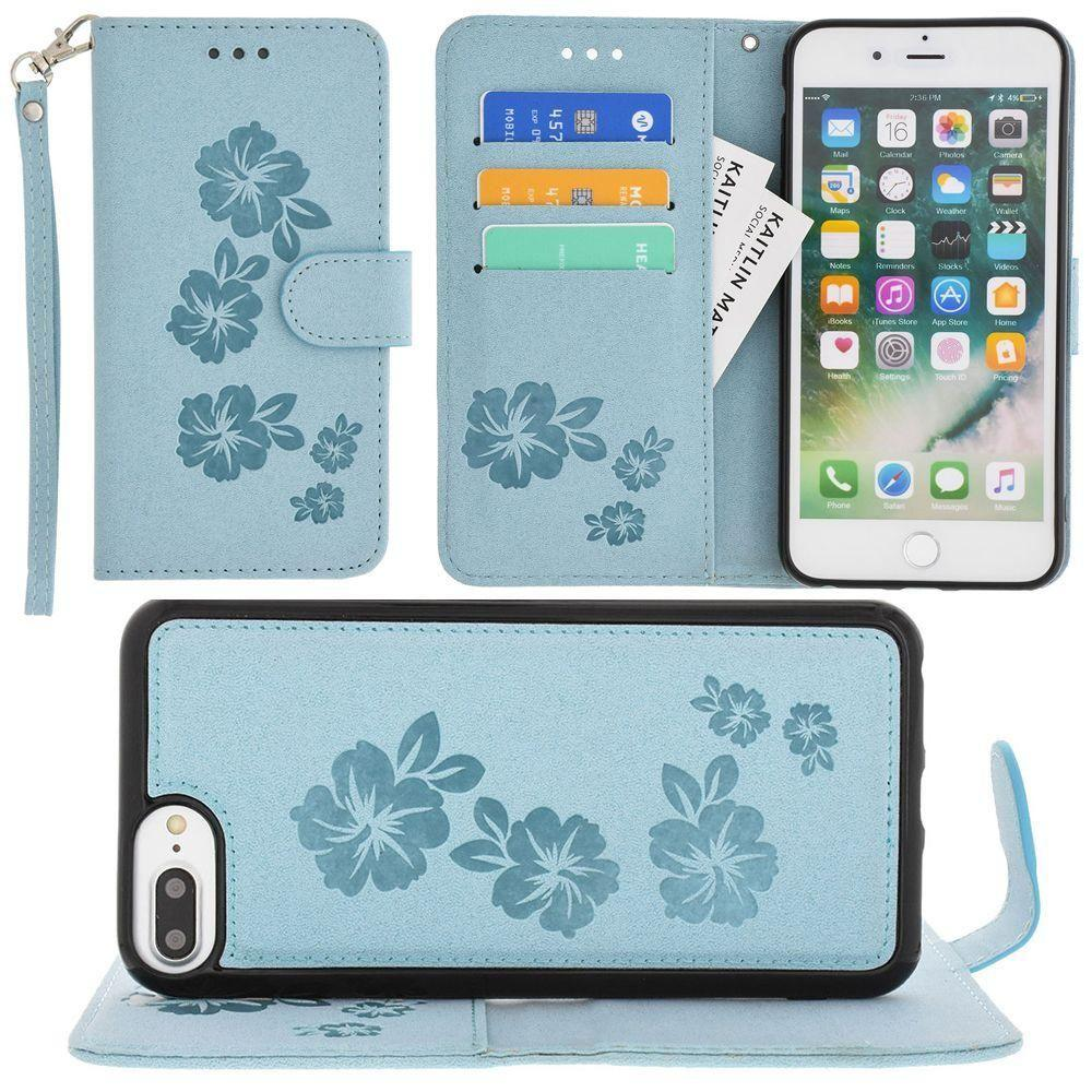 Iphone 6s Plus - Embossed Glitter Hawaiian Flower Wallet with Detachable Matching Slim Case and Wristlet, Light Blue for Apple iPhone 6 Plus/iPhone 6s Plus/iPhone 7 Plus/iPhone 8 Plus