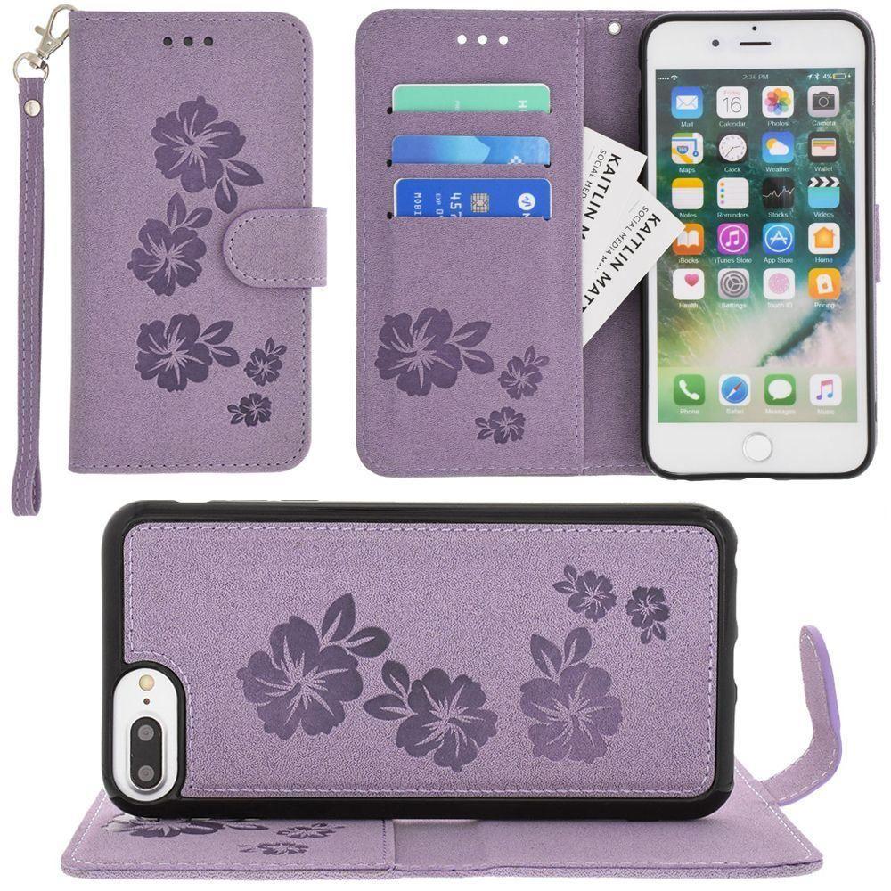 Iphone 6 Plus - Embossed Glitter Hawaiian Flower Wallet with Detachable Matching Slim Case and Wristlet, Purple for Apple iPhone 6 Plus/iPhone 6s Plus/iPhone 7 Plus/iPhone 8 Plus