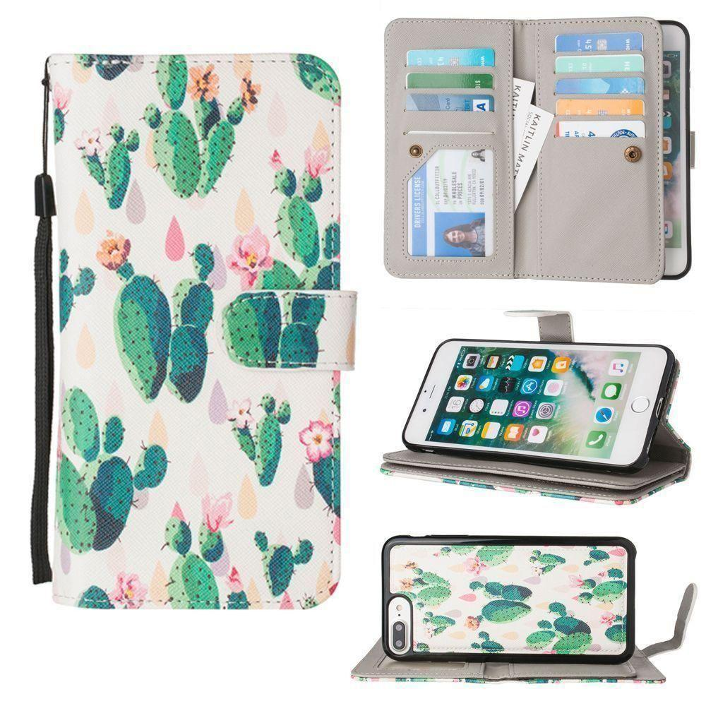 - Blooming Cactus Multi-Card Wallet with Matching Detachable Slim Case and Wristlet, Green/White for Apple iPhone 6 Plus/iPhone 6s Plus/iPhone 7 Plus/iPhone 8 Plus
