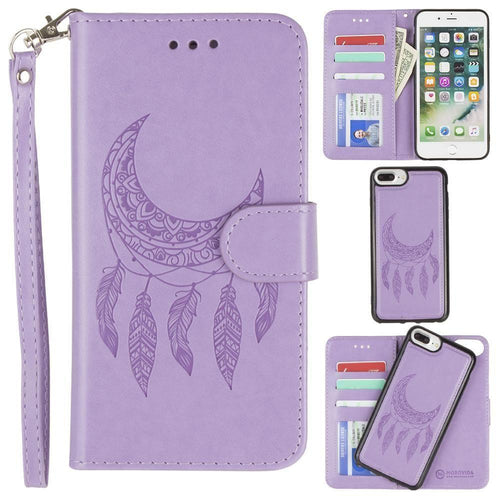 Apple Iphone 8 Plus - Embossed Moon Dream Catcher Design Wallet Case with Detachable Matching Case and Wristlet, Lavender for Apple iPhone 6 Plus/iPhone 6s Plus/iPhone 7 Plus/iPhone 8 Plus