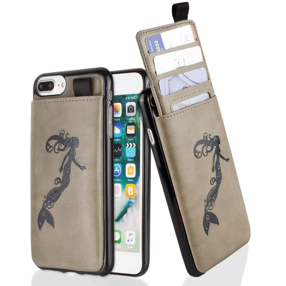 - Embossed Mermaid Leather Case with Pull-Out Card Slot Organizer, Gray for Apple iPhone 6 Plus/iPhone 6s Plus/iPhone 7 Plus/iPhone 8 Plus
