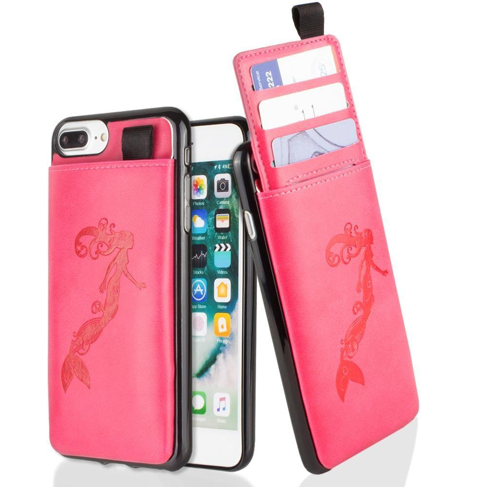 - Embossed Mermaid Leather Case with Pull-Out Card Slot Organizer, Hot Pink for Apple iPhone 6 Plus/iPhone 6s Plus/iPhone 7 Plus/iPhone 8 Plus