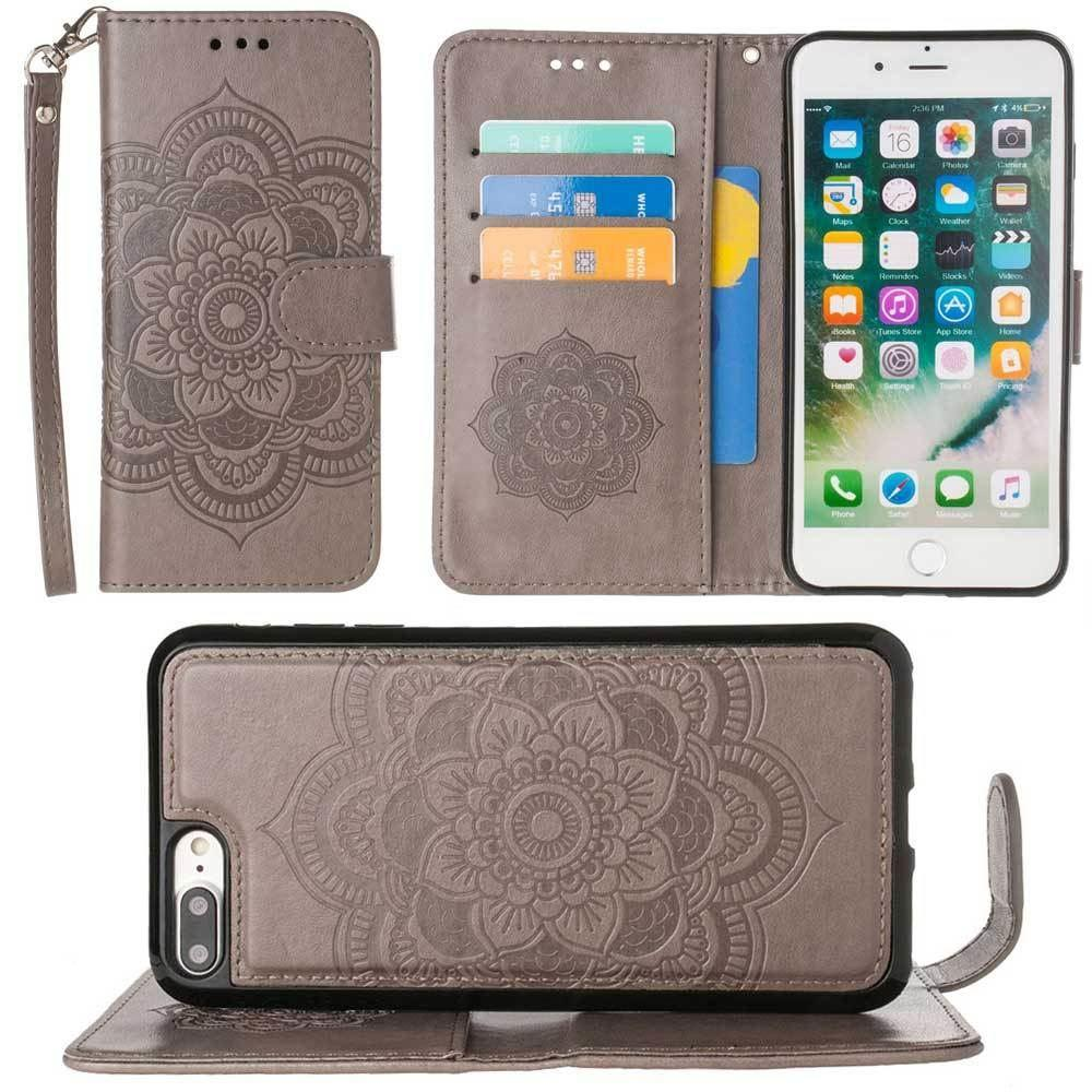 - Embossed Mandala Wallet Case with Detachable Matching Case and Wristlet, Gray for Apple iPhone 6 Plus/iPhone 6s Plus/iPhone 7 Plus/iPhone 8 Plus