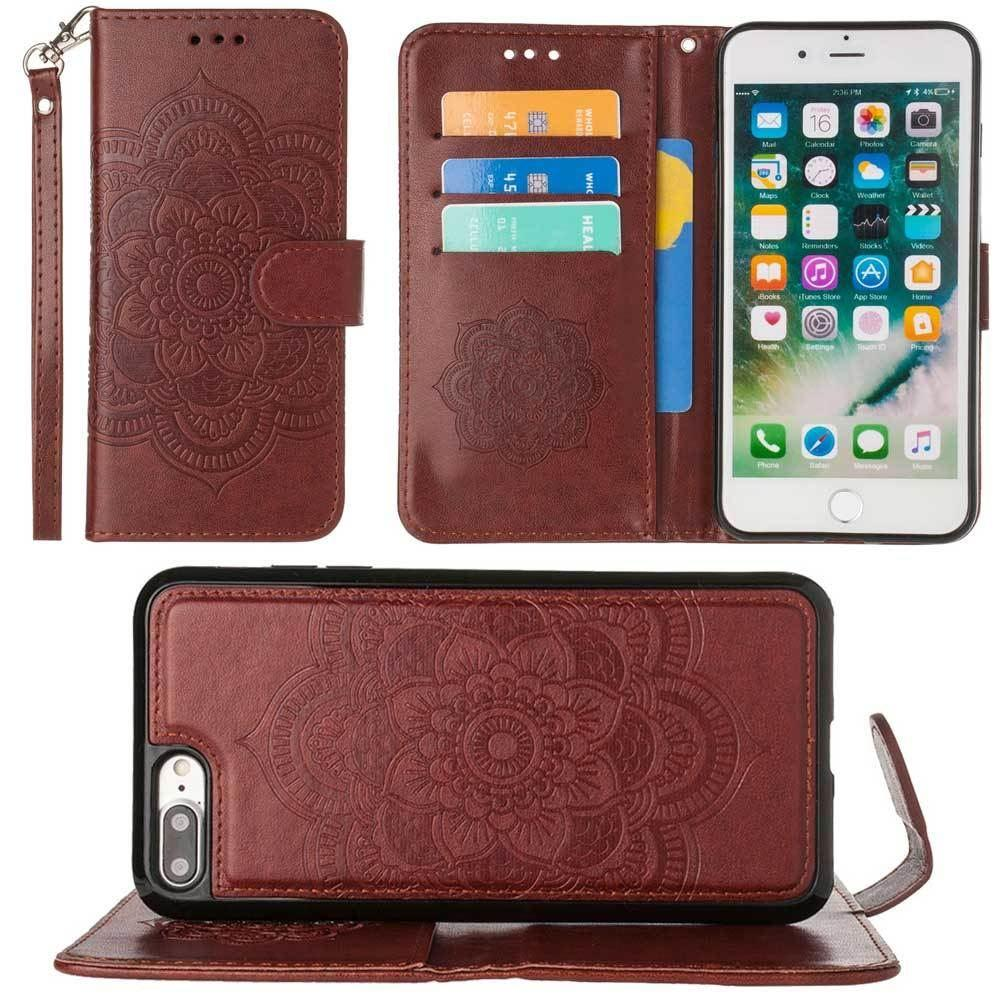 - Embossed Mandala Wallet Case with Detachable Matching Case and Wristlet, Brown for Apple iPhone 6 Plus/iPhone 6s Plus/iPhone 7 Plus/iPhone 8 Plus