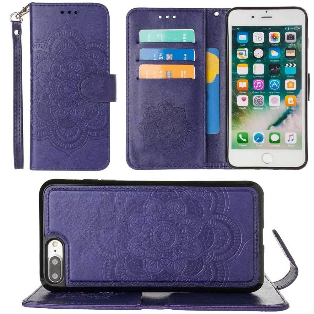 - Embossed Mandala Wallet Case with Detachable Matching Case and Wristlet, Purple for Apple iPhone 6 Plus/iPhone 6s Plus/iPhone 7 Plus/iPhone 8 Plus