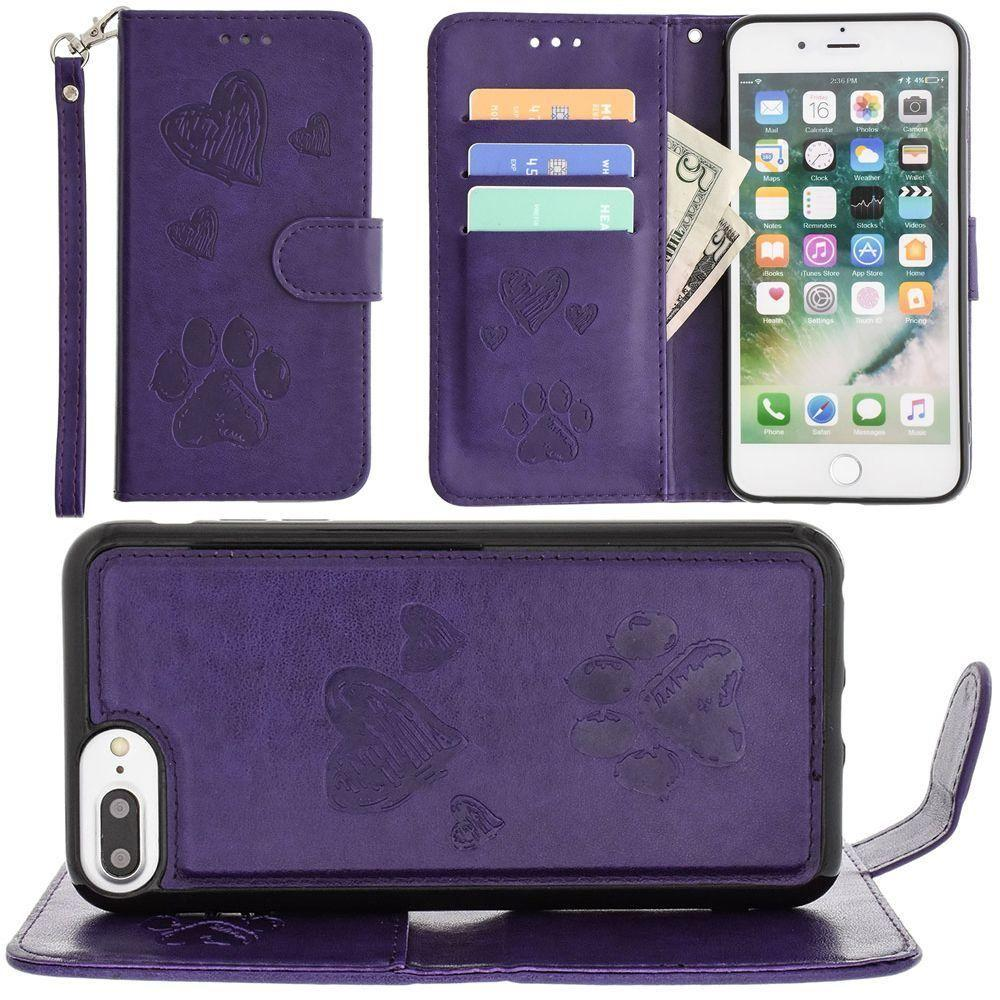 - Puppy Love Wallet with Matching Detachable Magnetic Phone Case and Wristlet, Purple for Apple iPhone 6 Plus/iPhone 6s Plus/iPhone 7 Plus/iPhone 8 Plus