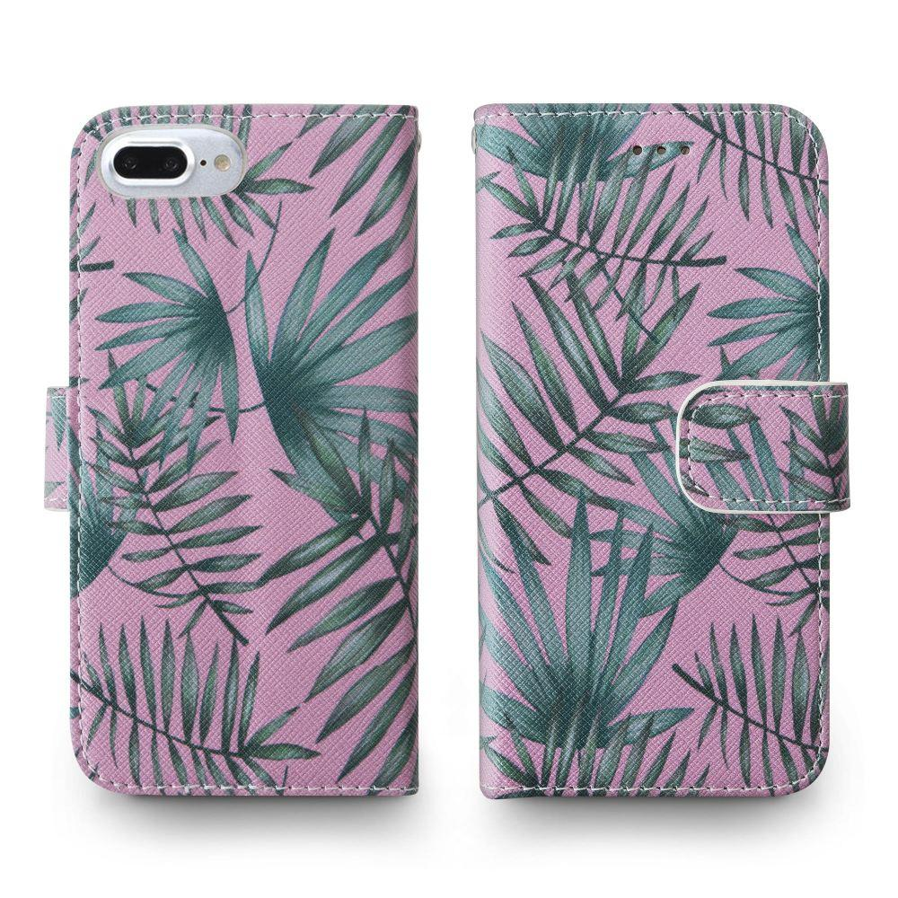 - Palm Leaves Printed Wallet with Matching Detachable Slim Case and Wristlet, Pink/Green for Apple iPhone 6 Plus/iPhone 6s Plus/iPhone 7 Plus/iPhone 8 Plus