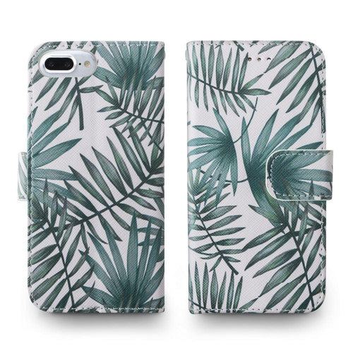 Apple Iphone 6 Plus - Palm Leaves Printed Wallet with Matching Detachable Slim Case and Wristlet, White/Green for Apple iPhone 6 Plus/iPhone 6s Plus/iPhone 7 Plus/iPhone 8 Plus