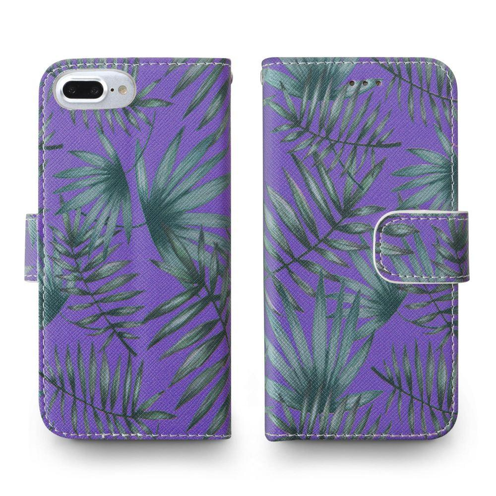 - Palm Leaves Printed Wallet with Matching Detachable Slim Case and Wristlet, Purple/Green for Apple iPhone 6 Plus/iPhone 6s Plus/iPhone 7 Plus/iPhone 8 Plus