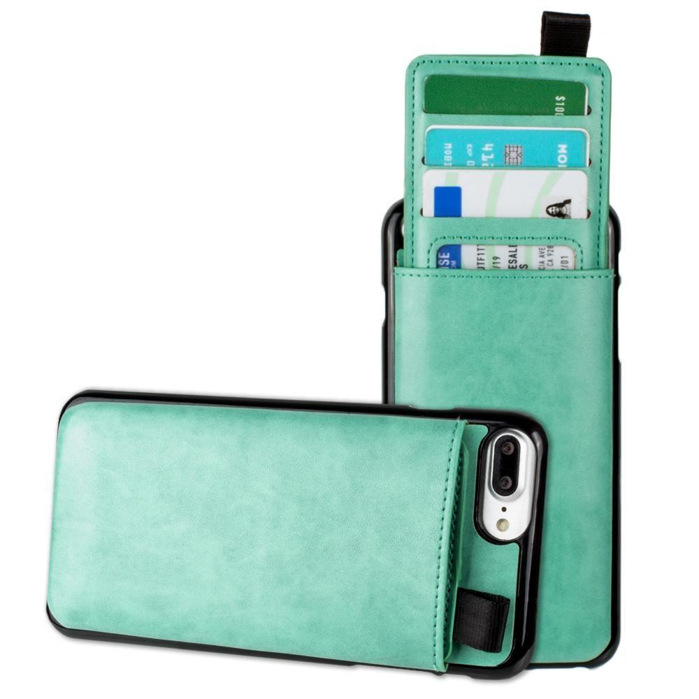 - Vegan Leather Case with Pull-Out Card Slot Organizer, Mint for Apple iPhone 6 Plus/iPhone 6s Plus/iPhone 7 Plus/iPhone 8 Plus