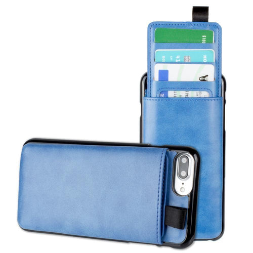 Apple Iphone 8 Plus - Vegan Leather Case with Pull-Out Card Slot Organizer, Blue for Apple iPhone 6 Plus/iPhone 6s Plus/iPhone 7 Plus/iPhone 8 Plus