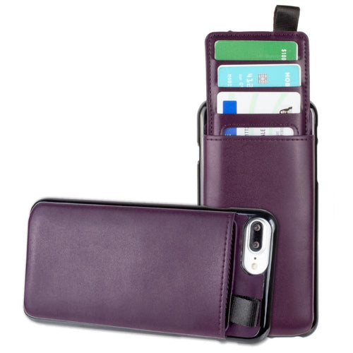 Apple Iphone 8 Plus - Vegan Leather Case with Pull-Out Card Slot Organizer, Purple for Apple iPhone 6 Plus/iPhone 6s Plus/iPhone 7 Plus/iPhone 8 Plus