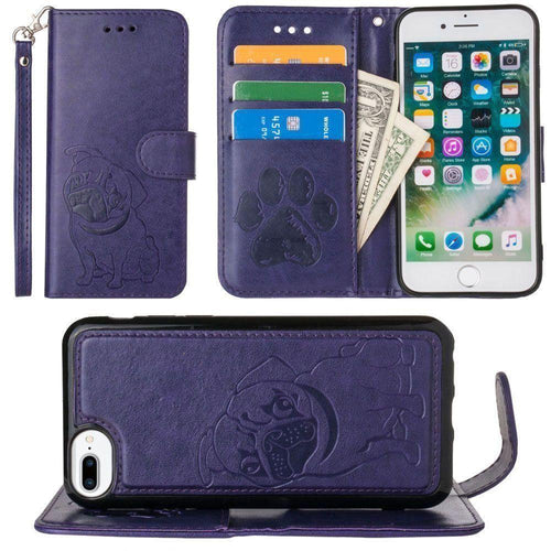Apple Iphone 6s Plus - Pug dog debossed wallet with detachable matching slim case and wristlet, Purple for Apple iPhone 6 Plus/iPhone 6s Plus/iPhone 7 Plus/iPhone 8 Plus