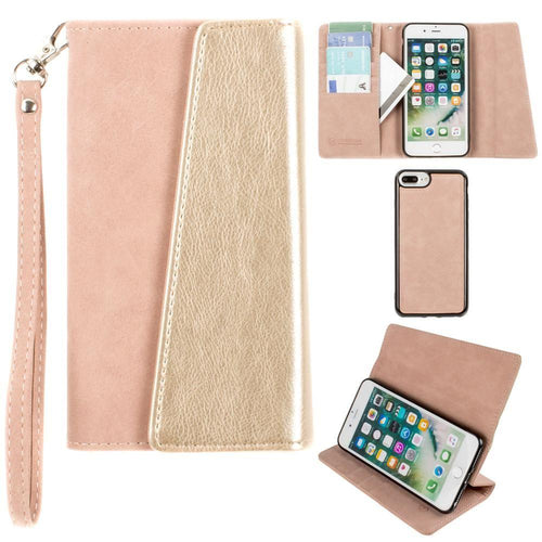 Apple Iphone 6 Plus - UltraSuede Metallic Color Block Flap Wallet with Matching detachable Case and strap, Dusty Pink/Gold for Apple iPhone 6 Plus/iPhone 6s Plus/iPhone 7 Plus/iPhone 8 Plus
