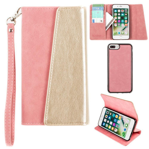 Apple Iphone 6 Plus - UltraSuede Metallic Color Block Flap Wallet with Matching detachable Case and strap, Pink/Gold for Apple iPhone 6 Plus/iPhone 6s Plus/iPhone 7 Plus/iPhone 8 Plus