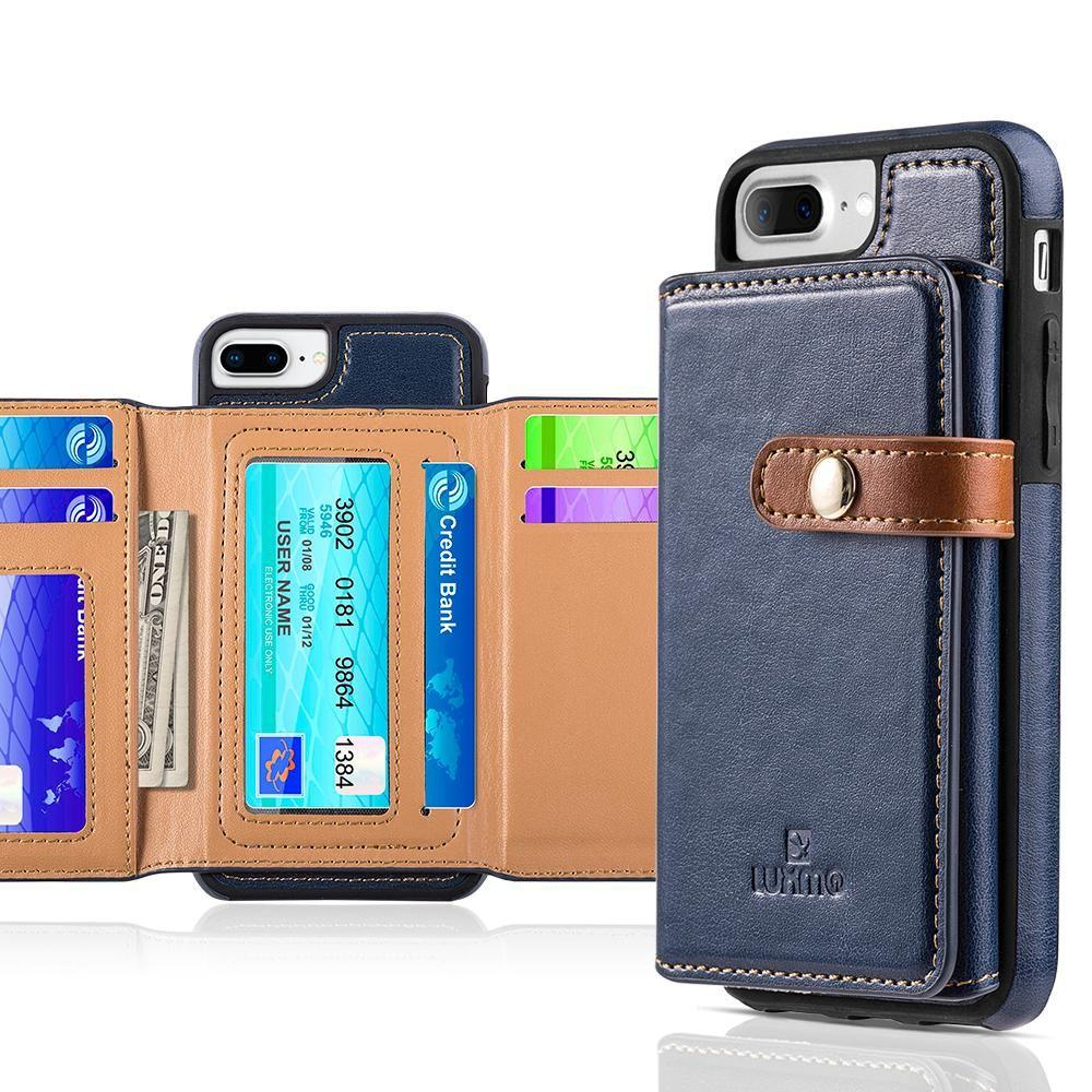 - Vegan Leather Case with Stitched-on Tri-fold Wallet, Navy Blue/Brown for Apple iPhone 6 Plus/iPhone 6s Plus/iPhone 7 Plus/iPhone 8 Plus