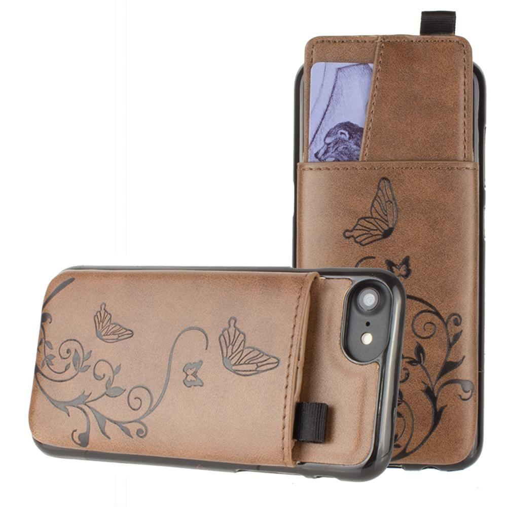 - Embossed Butterfly Leather Case with Pull-Out Card Slot Organizer, Brown for Apple iPhone 6/iPhone 6s/iPhone 7/iPhone 8