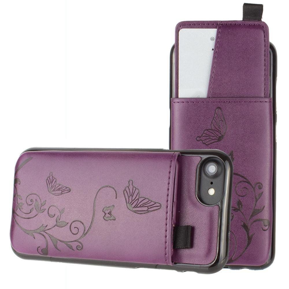 - Embossed Butterfly Leather Case with Pull-Out Card Slot Organizer, Purple for Apple iPhone 6/iPhone 6s/iPhone 7/iPhone 8
