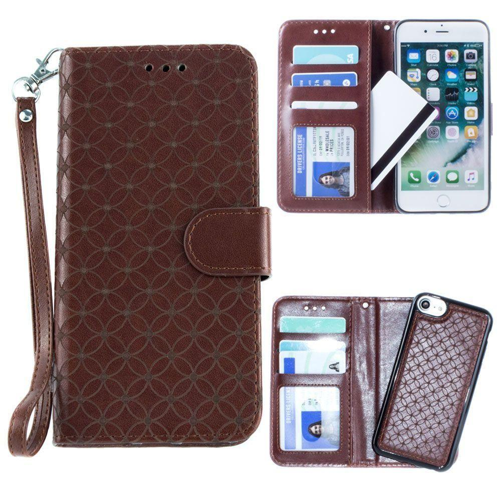 - Diamond pattern laser-cut wallet with detachable matching slim case and wristlet, Dark Brown for Apple iPhone 6/iPhone 6s/iPhone 7/iPhone 8