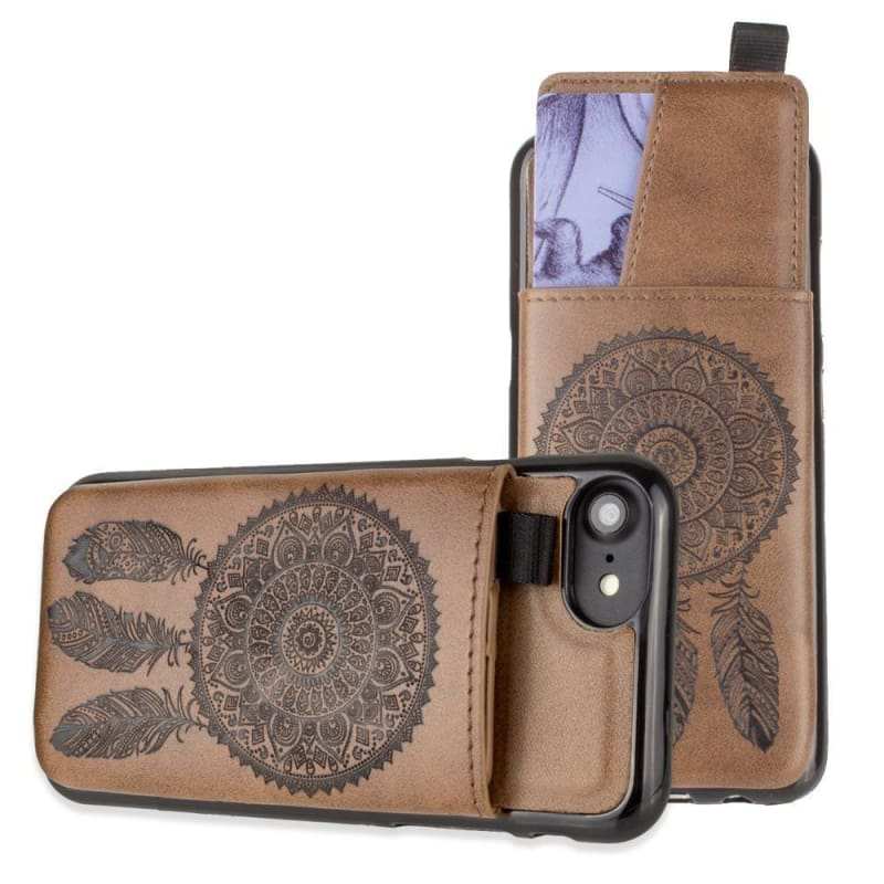newest bd7ad c83a6 Apple iPhone 8 Embossed Dreamcatcher Leather Case with Pull-Out Card Slot  Organizer, Brown