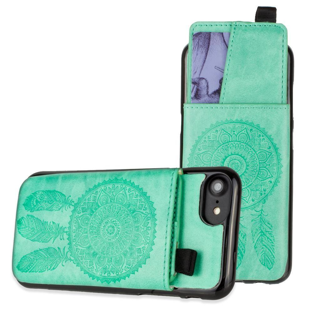 - Embossed Dreamcatcher Leather Case with Pull-Out Card Slot Organizer, Mint for Apple iPhone 6/iPhone 6s/iPhone 7/iPhone 8