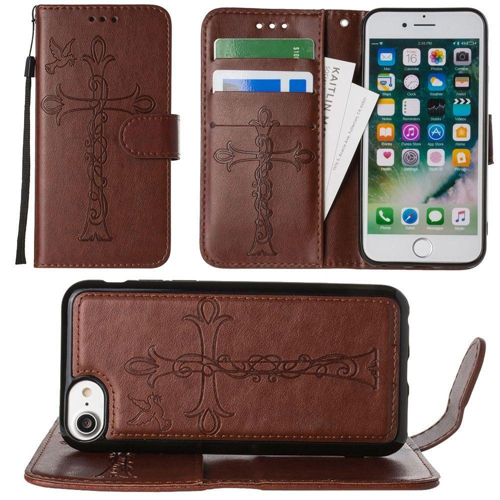 - Embossed Cross and Dove Wallet with Detachable Matching Slim Case and Wristlet, Brown for Apple iPhone 6/iPhone 6s/iPhone 7/iPhone 8