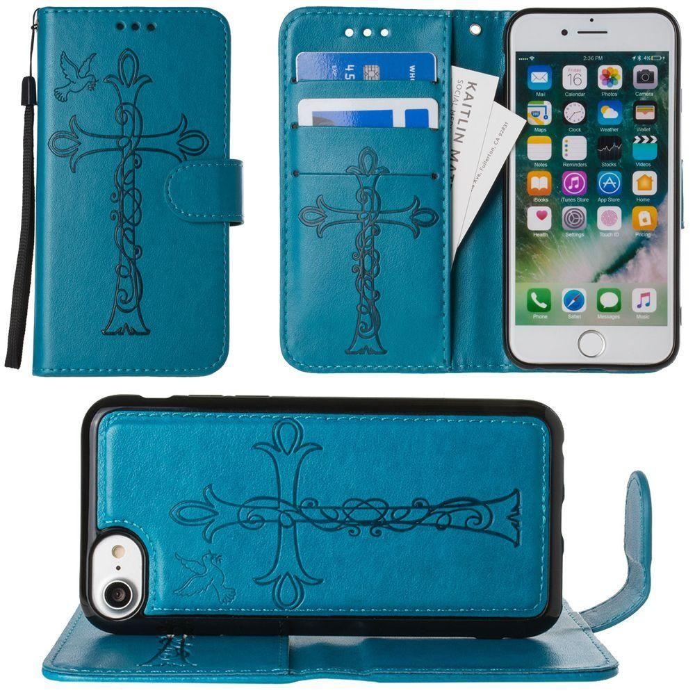 - Embossed Cross and Dove Wallet with Detachable Matching Slim Case and Wristlet, Teal for Apple iPhone 6/iPhone 6s/iPhone 7/iPhone 8
