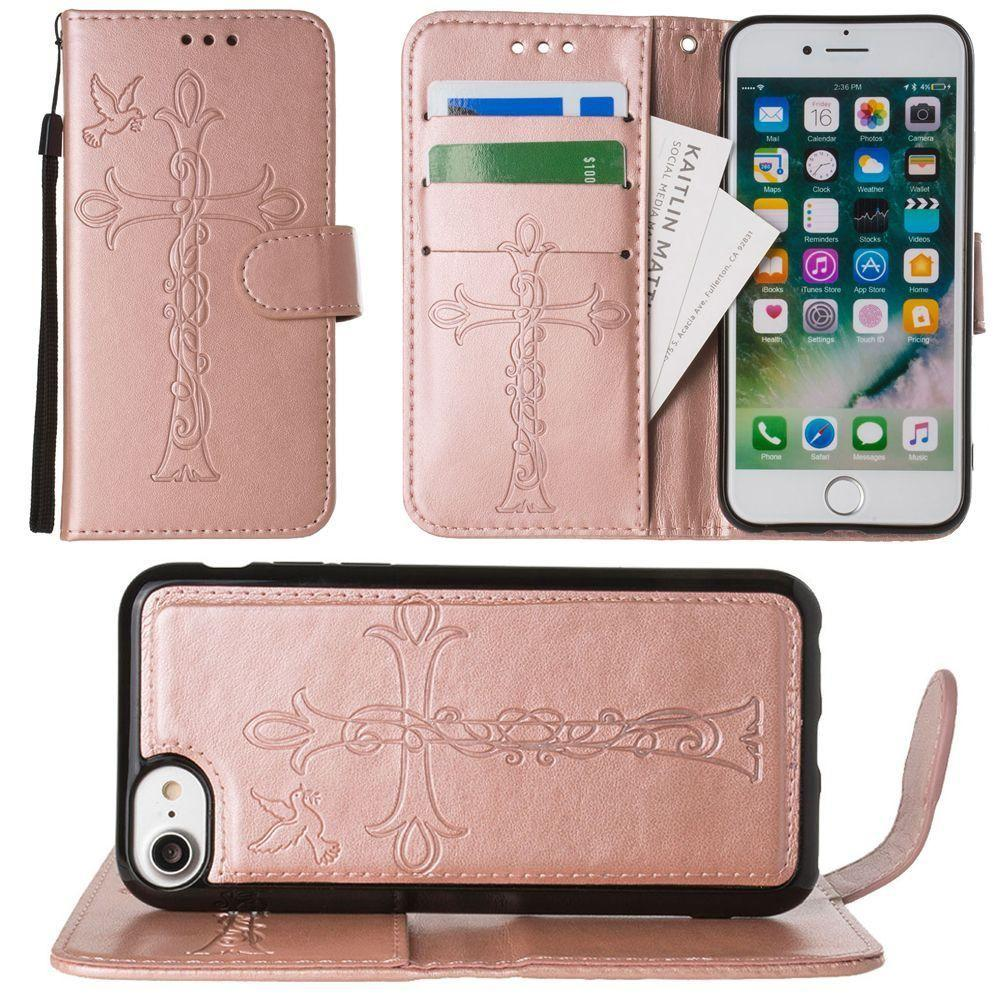 - Embossed Cross and Dove Wallet with Detachable Matching Slim Case and Wristlet, Rose Gold for Apple iPhone 6/iPhone 6s/iPhone 7/iPhone 8
