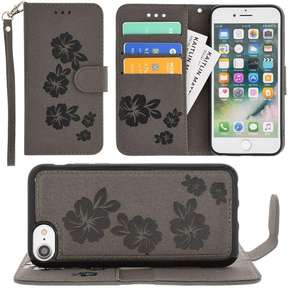 - Embossed Glitter Hawaiian Flower Wallet with Detachable Matching Slim Case and Wristlet, Gray for Apple iPhone 6/iPhone 6s/iPhone 7/iPhone 8