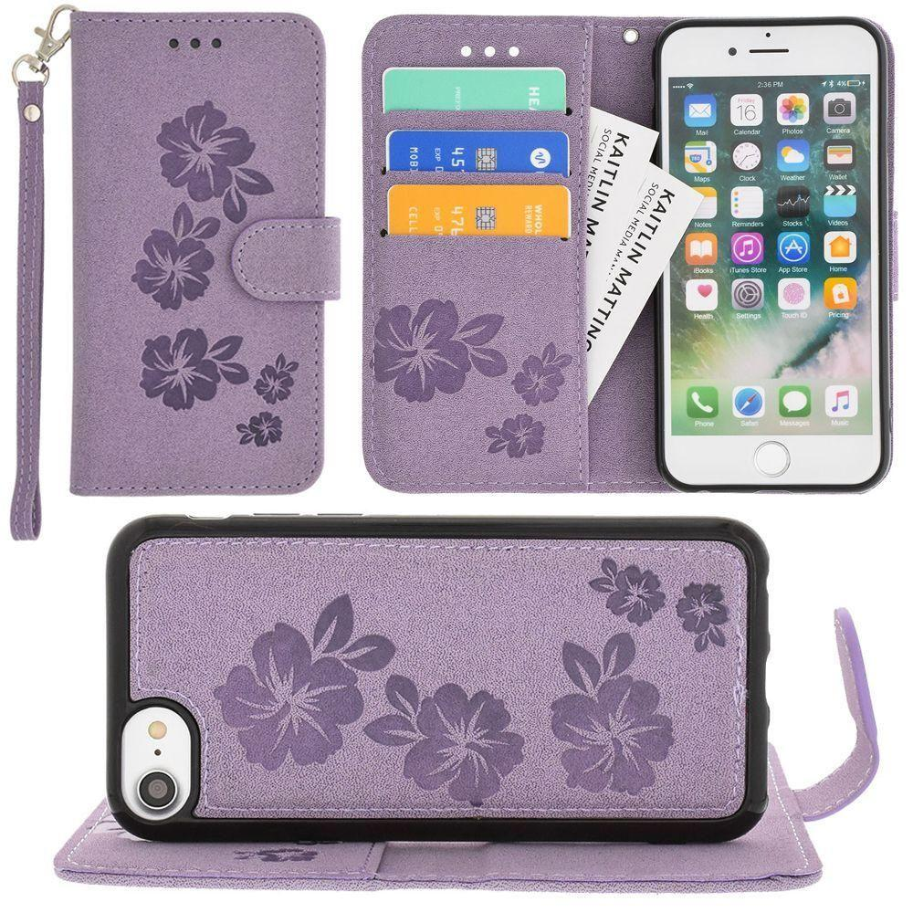 - Embossed Glitter Hawaiian Flower Wallet with Detachable Matching Slim Case and Wristlet, Purple for Apple iPhone 6/iPhone 6s/iPhone 7/iPhone 8