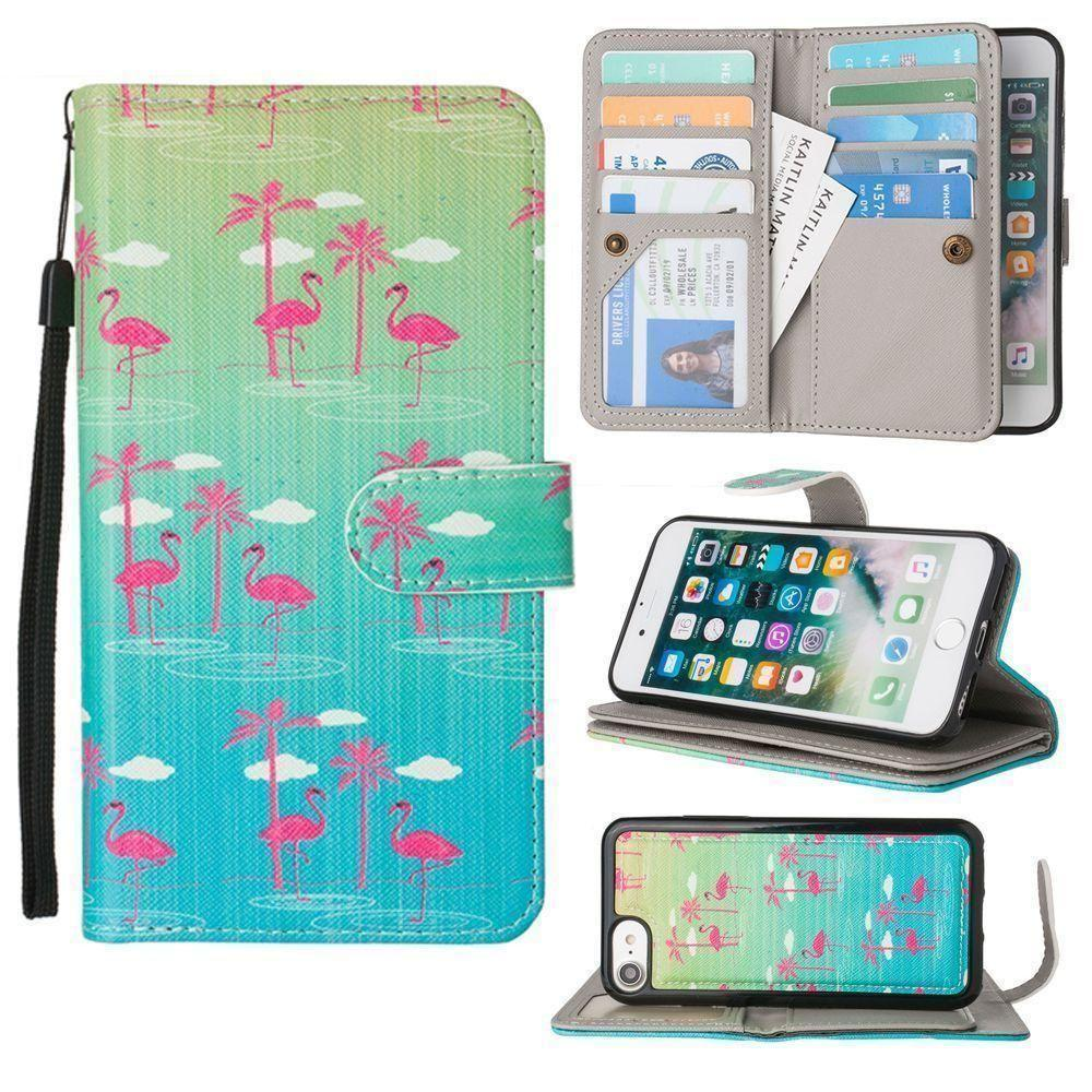 - Flamingo Paradise Multi-Card Wallet with Matching Detachable Slim Case and Wristlet, Green/Pink for Apple iPhone 6/iPhone 6s/iPhone 7/iPhone 8