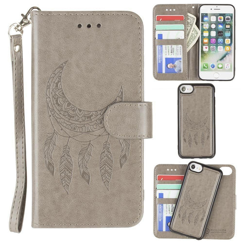 Apple Iphone 6 - Embossed Moon Dream Catcher Design Wallet Case with Detachable Matching Case and Wristlet, Gray for Apple iPhone 6/iPhone 6s/iPhone 7/iPhone 8