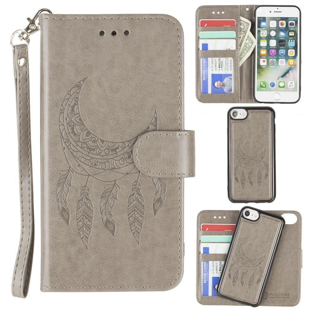 - Embossed Moon Dream Catcher Design Wallet Case with Detachable Matching Case and Wristlet, Gray for Apple iPhone 6/iPhone 6s/iPhone 7/iPhone 8