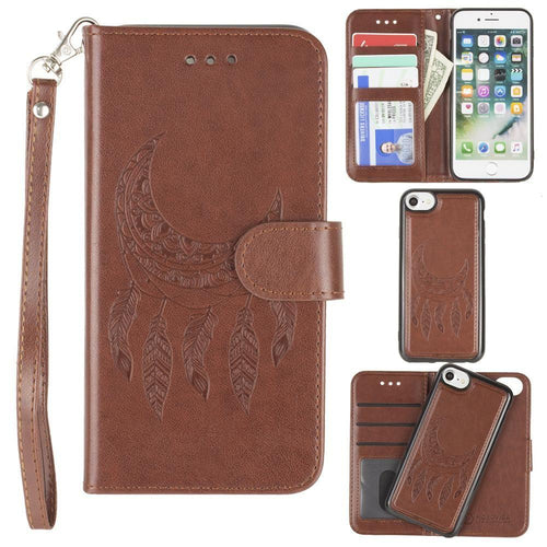 Apple Iphone 6 - Embossed Moon Dream Catcher Design Wallet Case with Detachable Matching Case and Wristlet, Brown for Apple iPhone 6/iPhone 6s/iPhone 7/iPhone 8