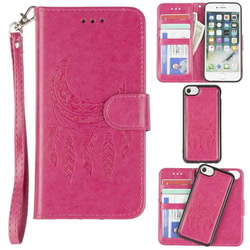 Apple Iphone 6 - Embossed Moon Dream Catcher Design Wallet Case with Detachable Matching Case and Wristlet, Hot Pink for Apple iPhone 6/iPhone 6s/iPhone 7/iPhone 8