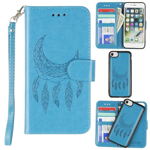 Apple Iphone 6 - Embossed Moon Dream Catcher Design Wallet Case with Detachable Matching Case and Wristlet, Teal for Apple iPhone 6/iPhone 6s/iPhone 7/iPhone 8