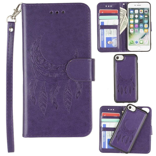 Apple Iphone 6 - Embossed Moon Dream Catcher Design Wallet Case with Detachable Matching Case and Wristlet, Purple for Apple iPhone 6/iPhone 6s/iPhone 7/iPhone 8