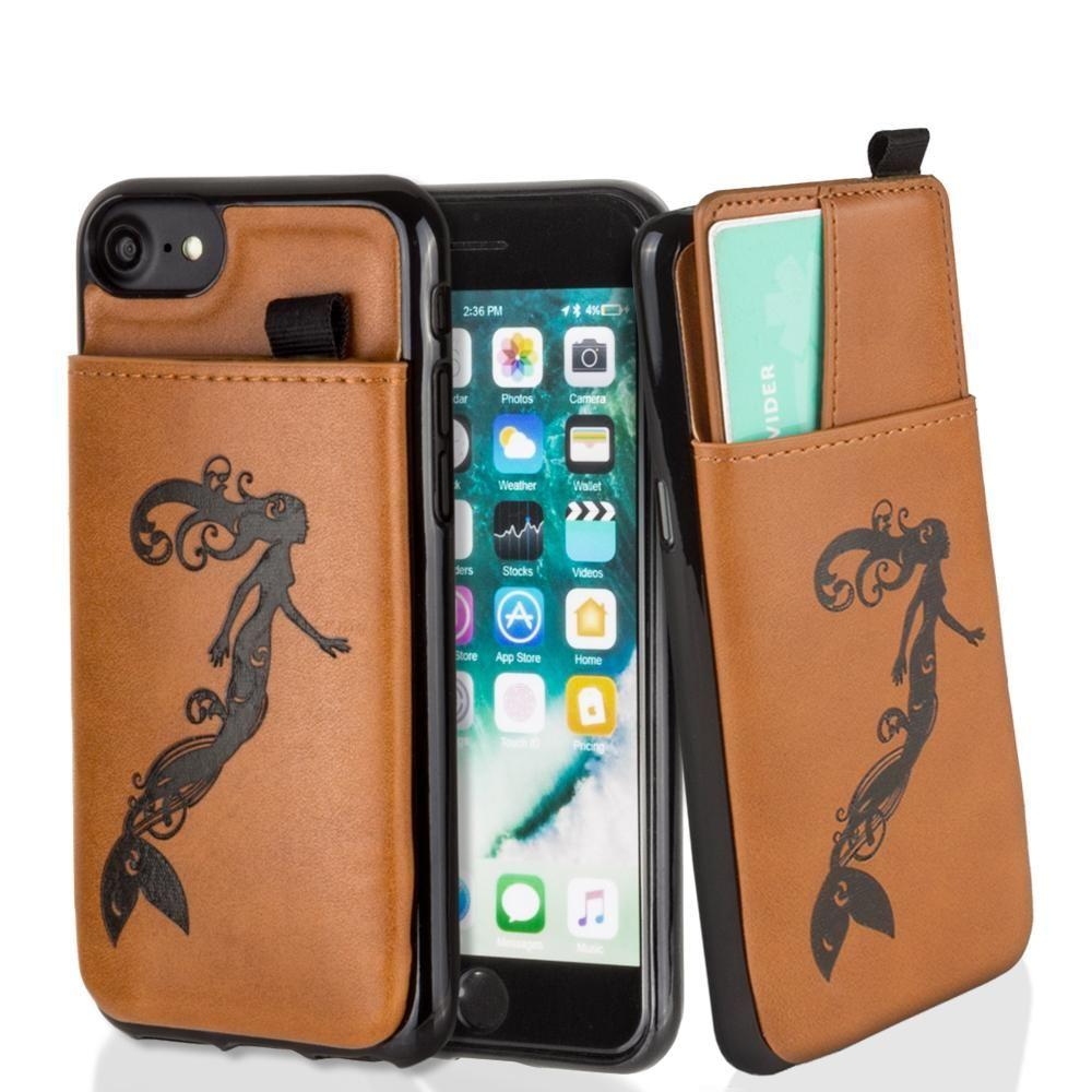 - Embossed Mermaid Leather Case with Pull-Out Card Slot Organizer, Taupe for Apple iPhone 6/iPhone 6s/iPhone 7/iPhone 8