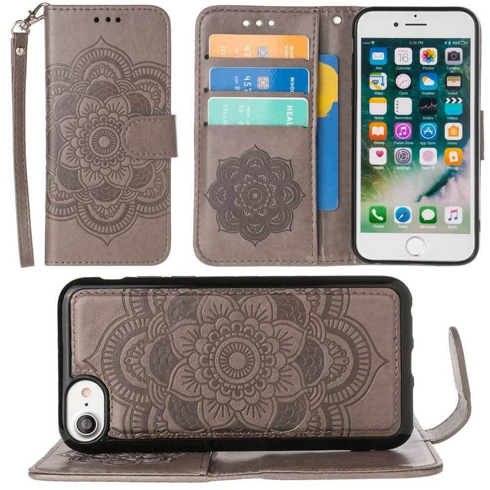 - Embossed Mandala Wallet Case with Detachable Matching Case and Wristlet, Gray for Apple iPhone 6/iPhone 6s/iPhone 7/iPhone 8