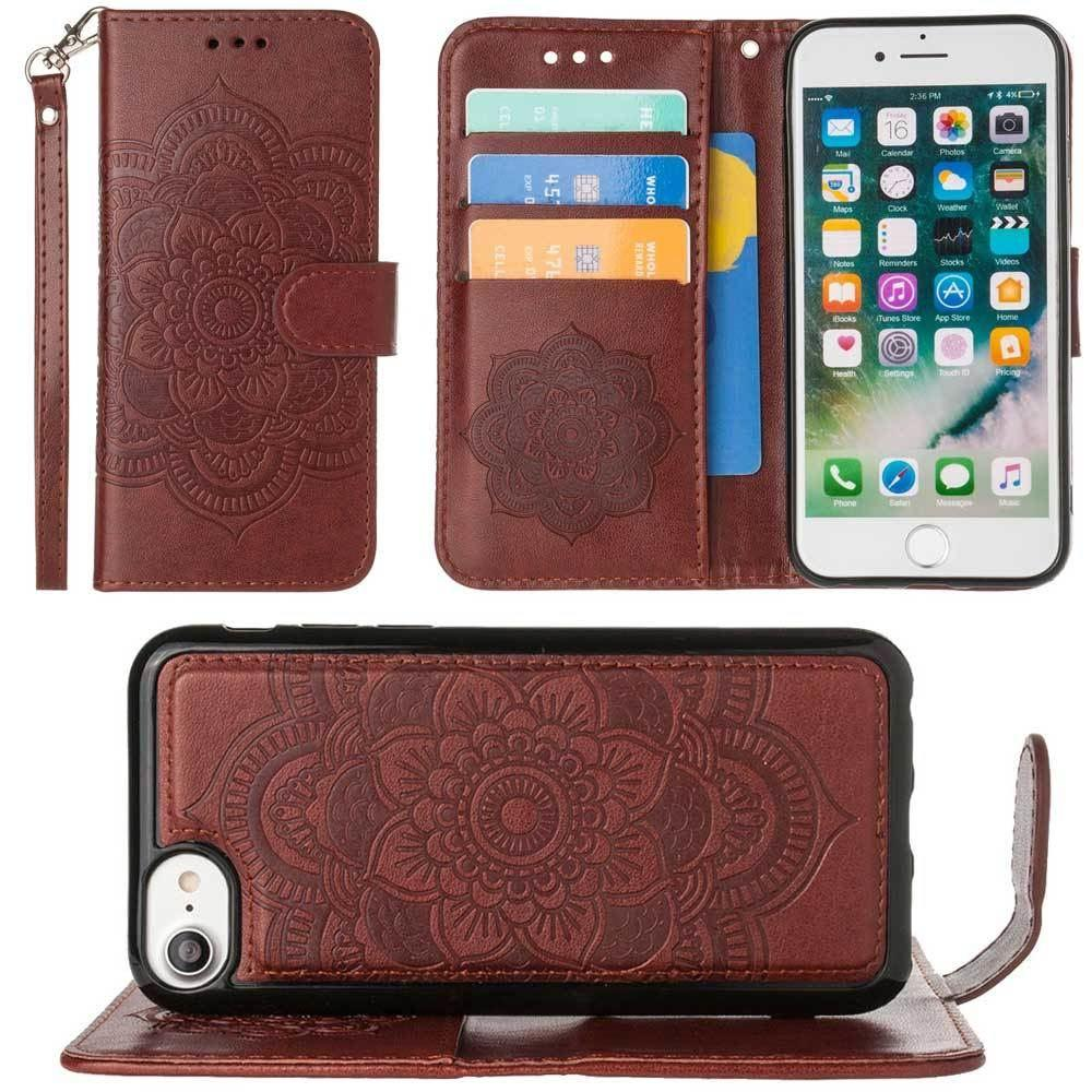 - Embossed Mandala Wallet Case with Detachable Matching Case and Wristlet, Brown for Apple iPhone 6/iPhone 6s/iPhone 7/iPhone 8