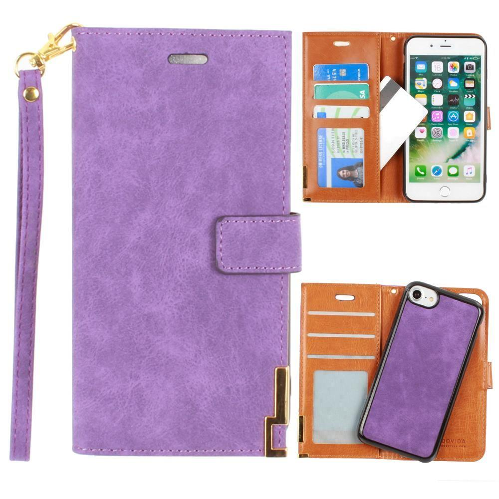 Iphone 6 - Ultrasuede metal trimmed wallet with removable slim case and wristlet, Purple for Apple iPhone 6/iPhone 6s/iPhone 7/iPhone 8